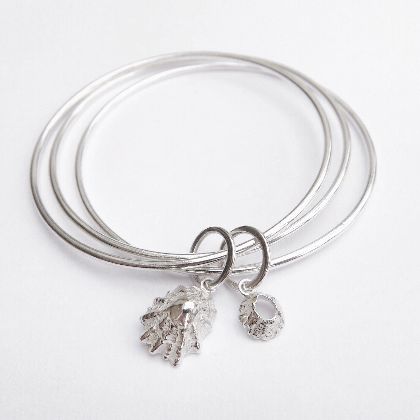 Barnacle and limpet sterling silver handmade bangle bracelet jasmine Bowden ocean inspired jewellery organic stacking bangles.jpg