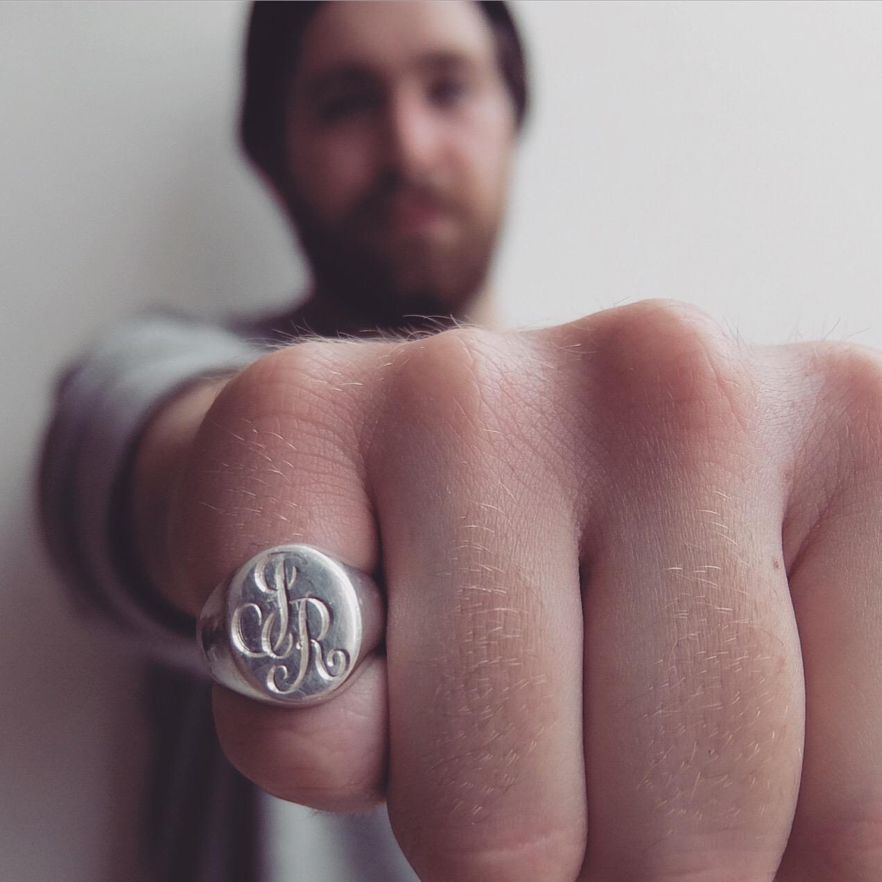 Engraved initial oval sterling silver handmade signet ring mens jewellery rings uk JB Jasmine Bowden.jpg