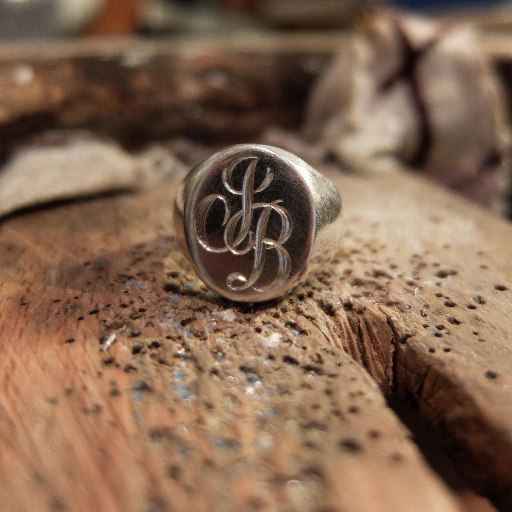 hand engraved signet ring mens men jewellery sterling silver uk devon handmade script bespoke jasmine bowden uk.jpg