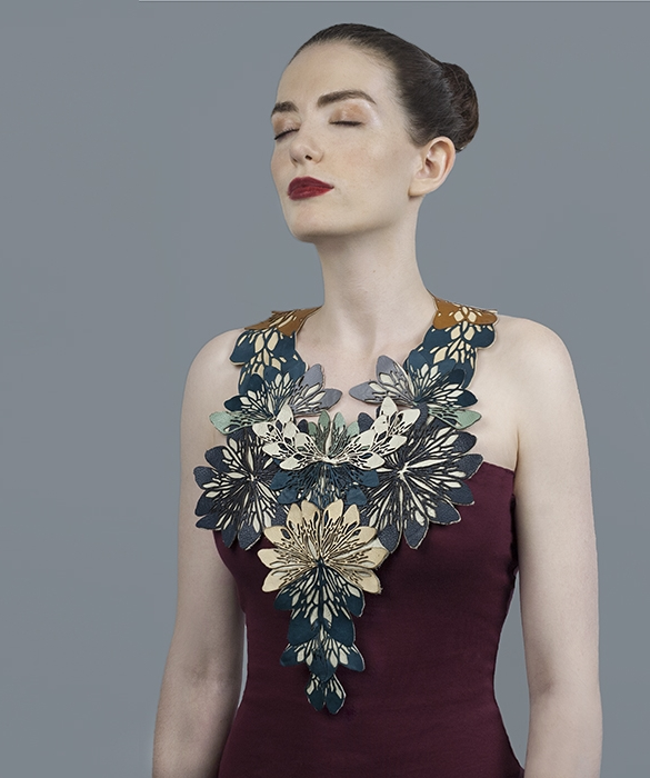 Laser Cut Leather Necklace (Make up by Tom Selmon, Model Izzy Ingram and Photography by Beccy Nuthall)