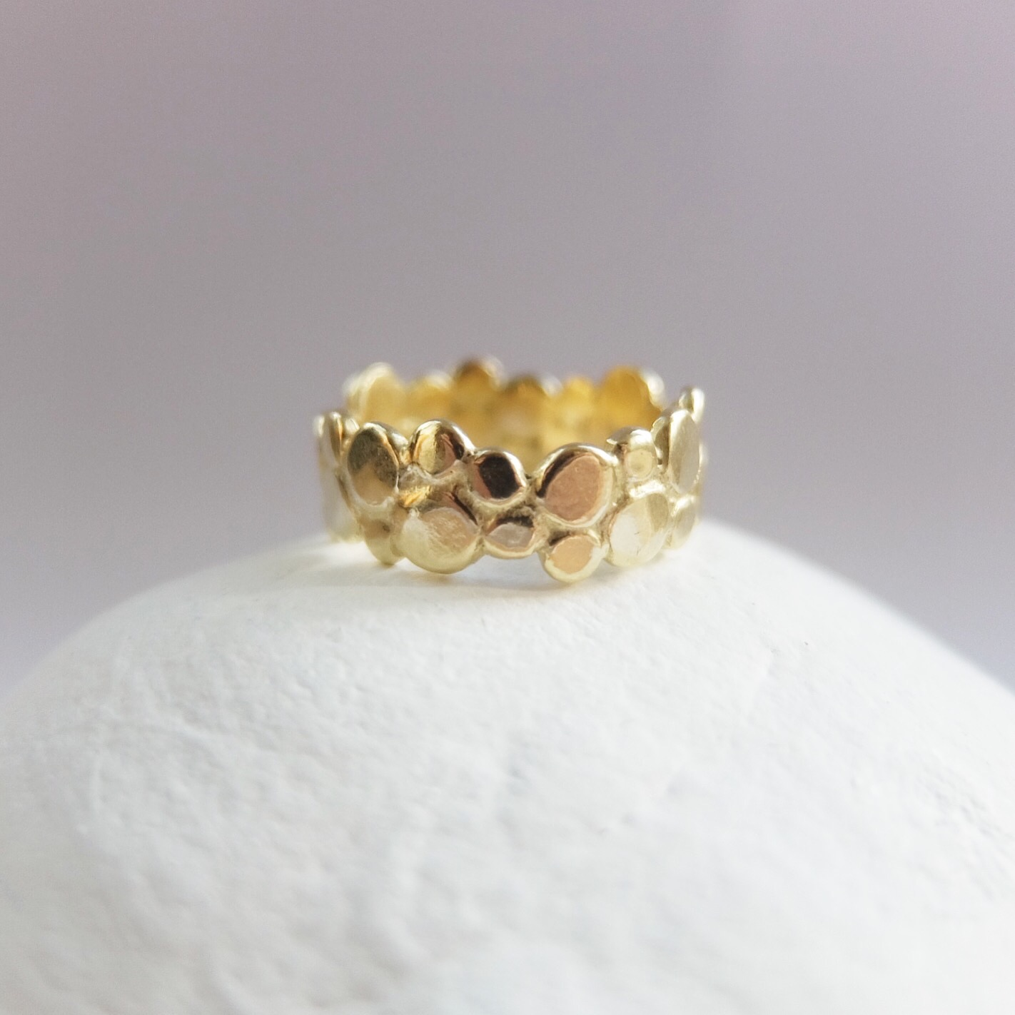 contemporary alternative wedding bands rings gold pebble ring coastal inspired by sea 18ct yellow gold contemporary jewellery wedding ring organic made in uk devon exeter cornwall jasmine bowden.jpg