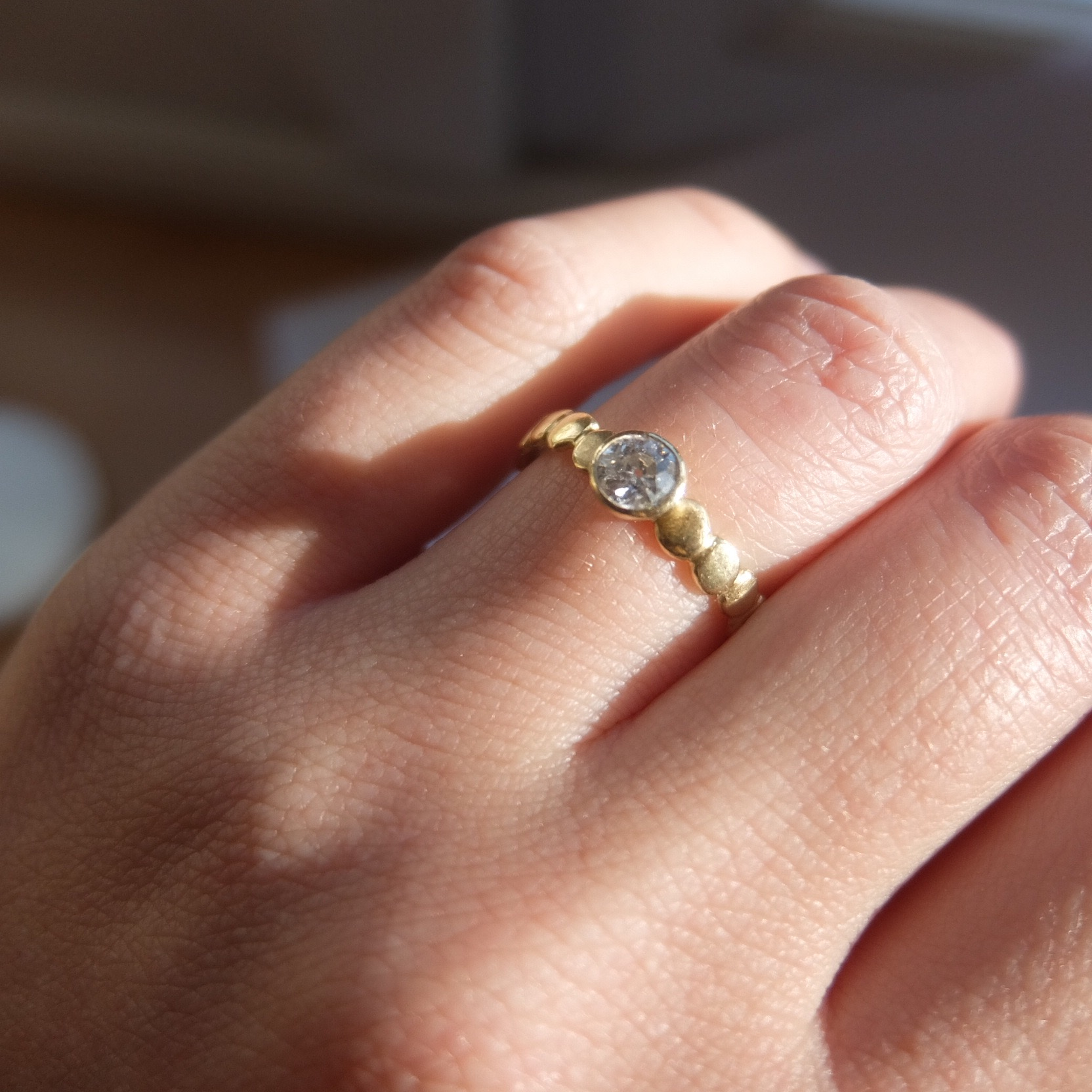 handmade alternative contemporary diamond engagement ring engagement rings devon pebble rings pebbles uk bespoke classic 0.3ct 0.35ct 0.4ct gold 18ct yellow gold full rubover bezel setting jasmine bowden genuine.jpg