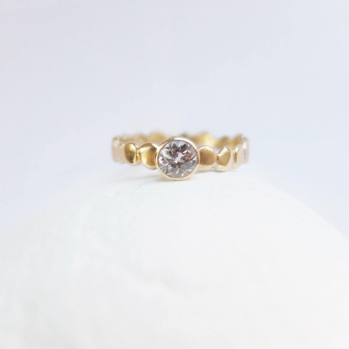 18ct yellow gold and 0.3ct 0.4ct diamond engagement rings ring pebble pebbles alternative contemporary handmade in Exeter Devon UK jasmine bowden modern.jpg