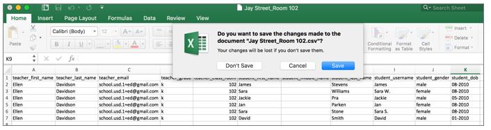 Save your CSV File. -