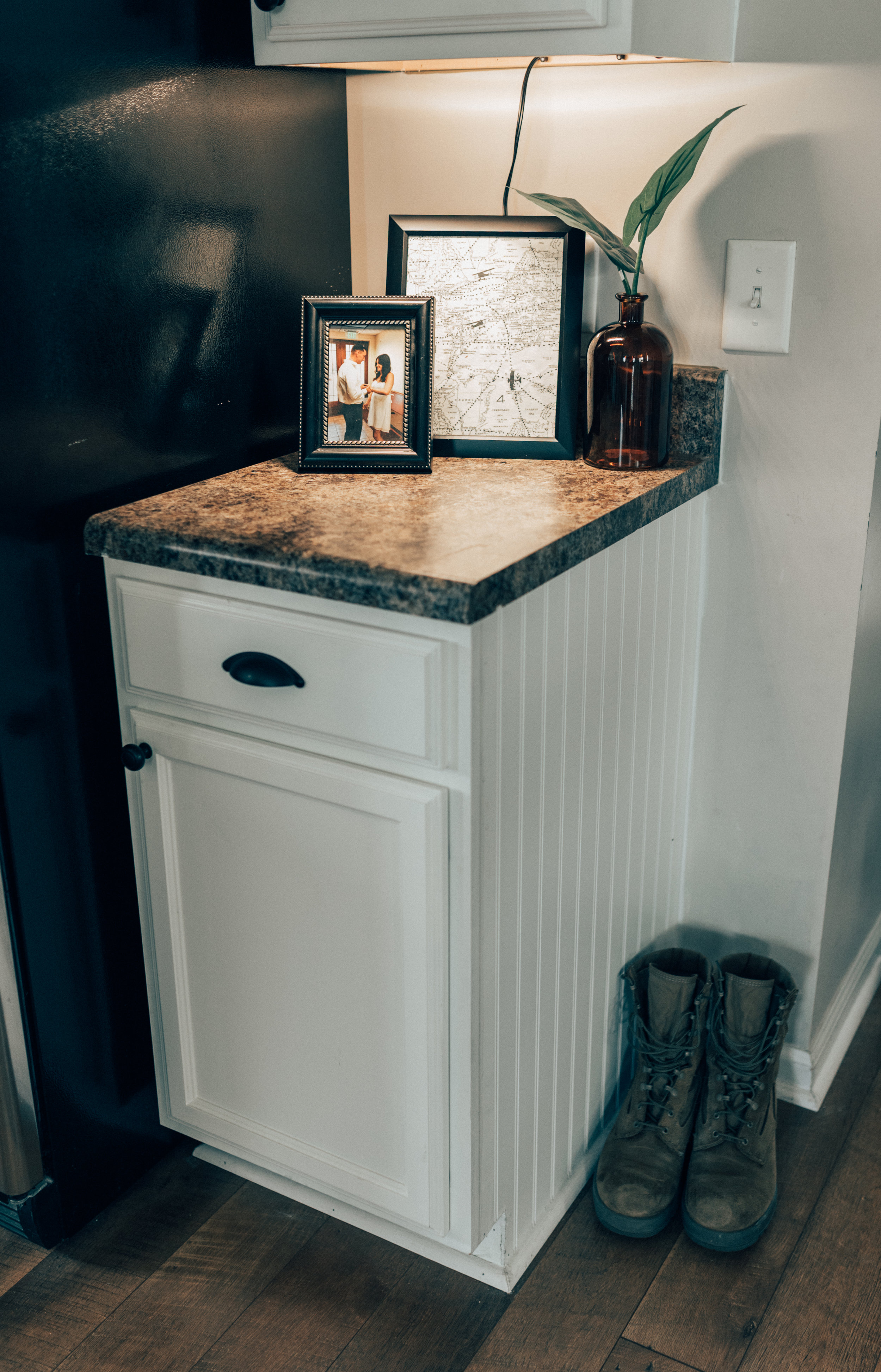 Our only wedding picture sits proudly in our countertop!