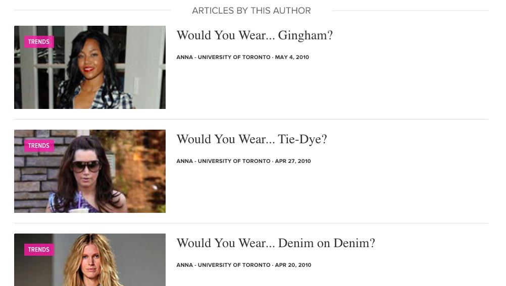 "College Fashion Internship ""Would You Wear..."" Column"