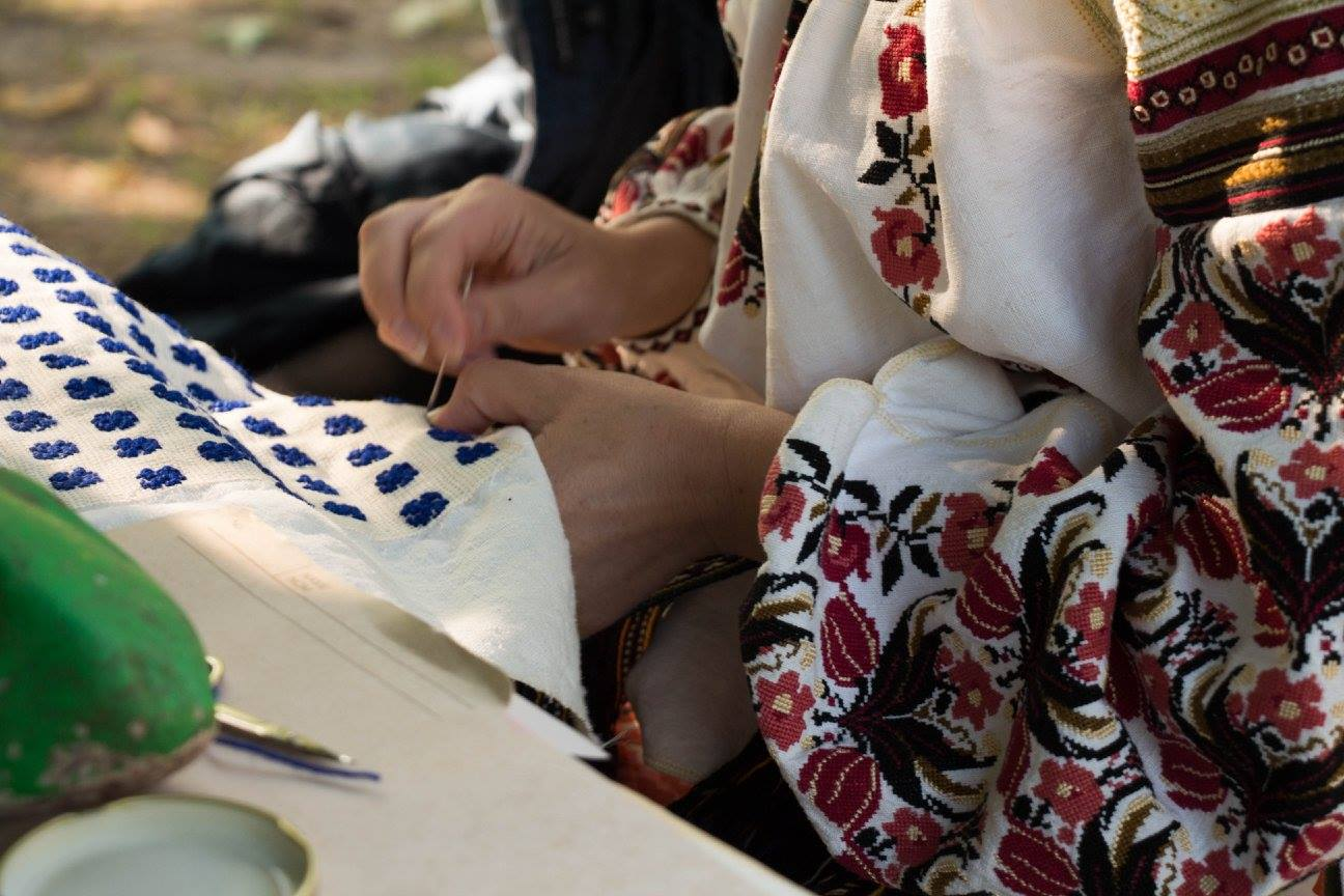 Myroslava embroidering during Folk Camp