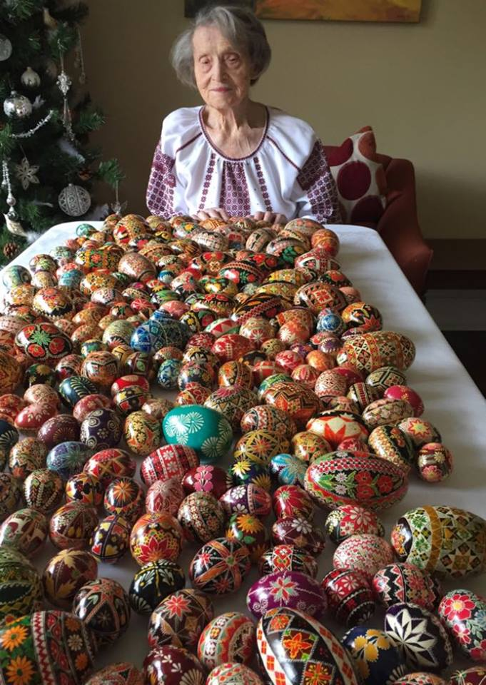 Parania Sozanski with just some of the pysanky she has made!