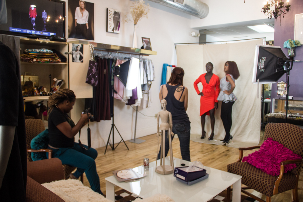 Terry (left) and Kayla (right) doing an after hours photo shoot at the boutique.