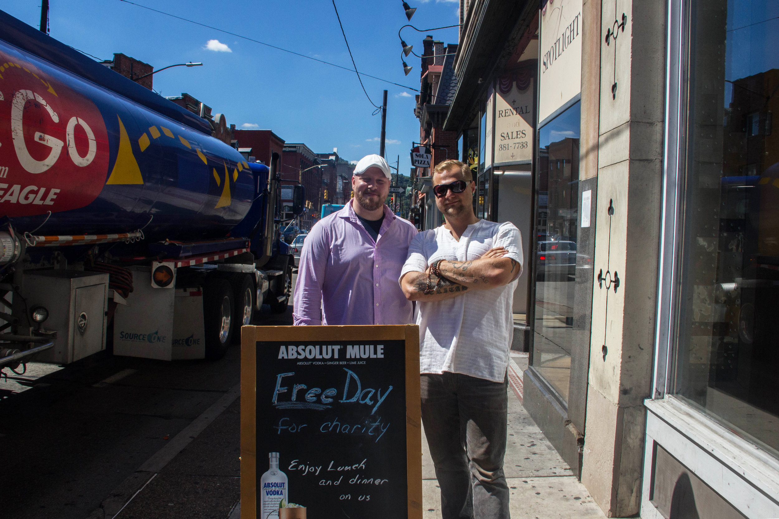 Owner's Colin Smith and Zachary Winghart (names ordered respectively from left to right).