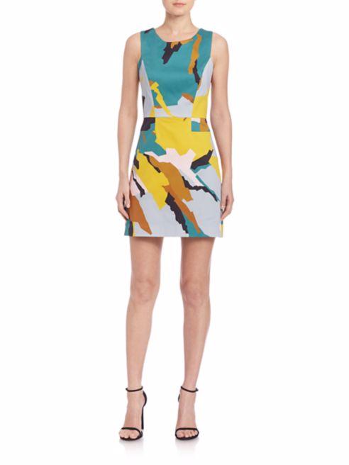 MILLY, Modern Camo Print A-Line Dress