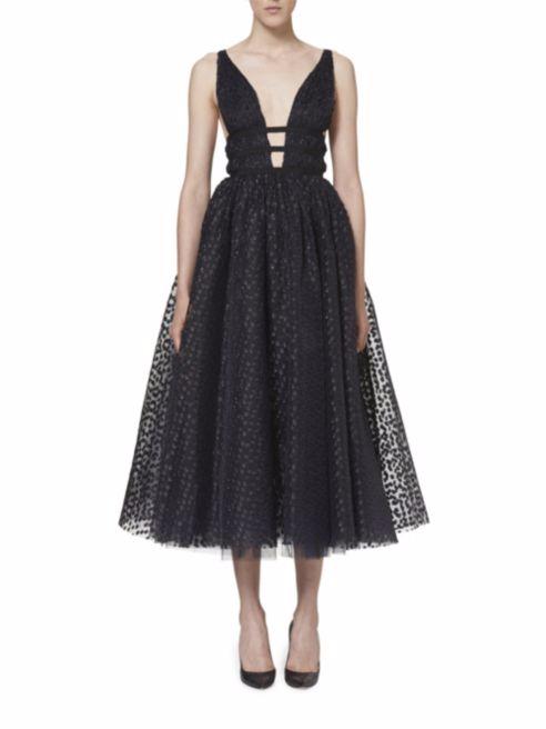 Carolina Herrera, Metallic Dot Cocktail Dress