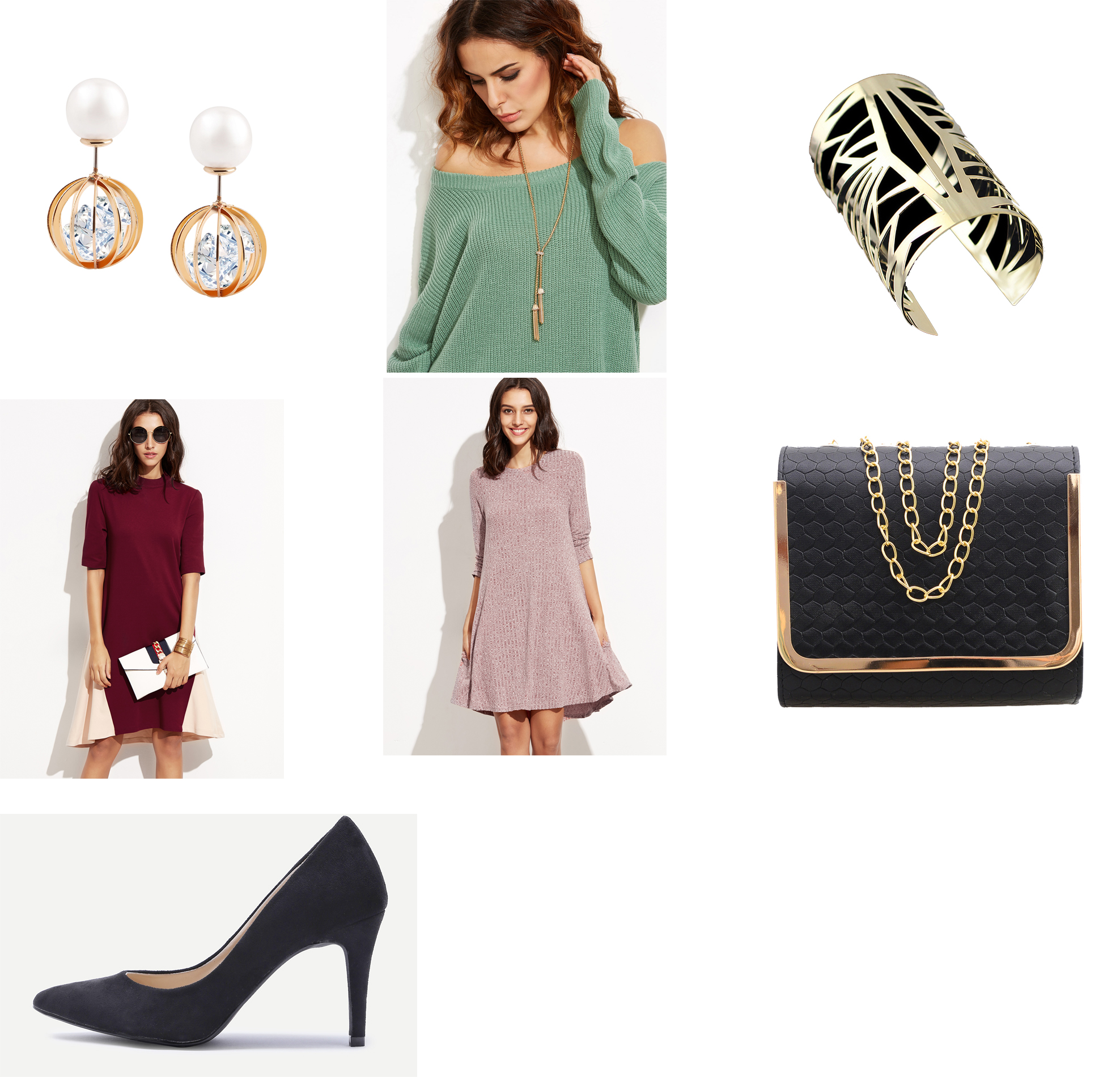 Outfit Links:  Earrings ,  Necklace ,  Cuff ,  Dress ,  Alternative Dress ,  Purse ,  Shoes
