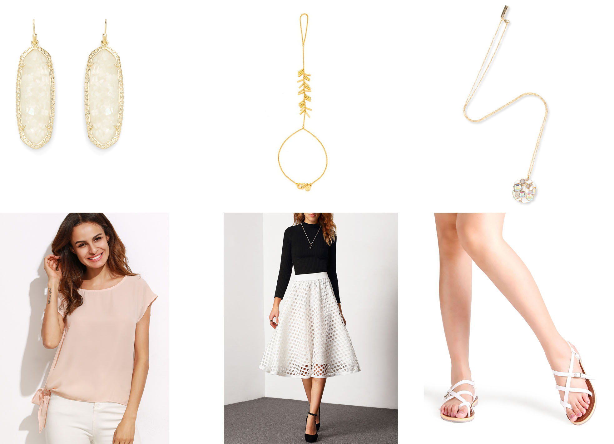 Outfit Links:  Earrings ,  Hand Chain ,  Necklace ,  Top ,  Skirt ,  Shoes