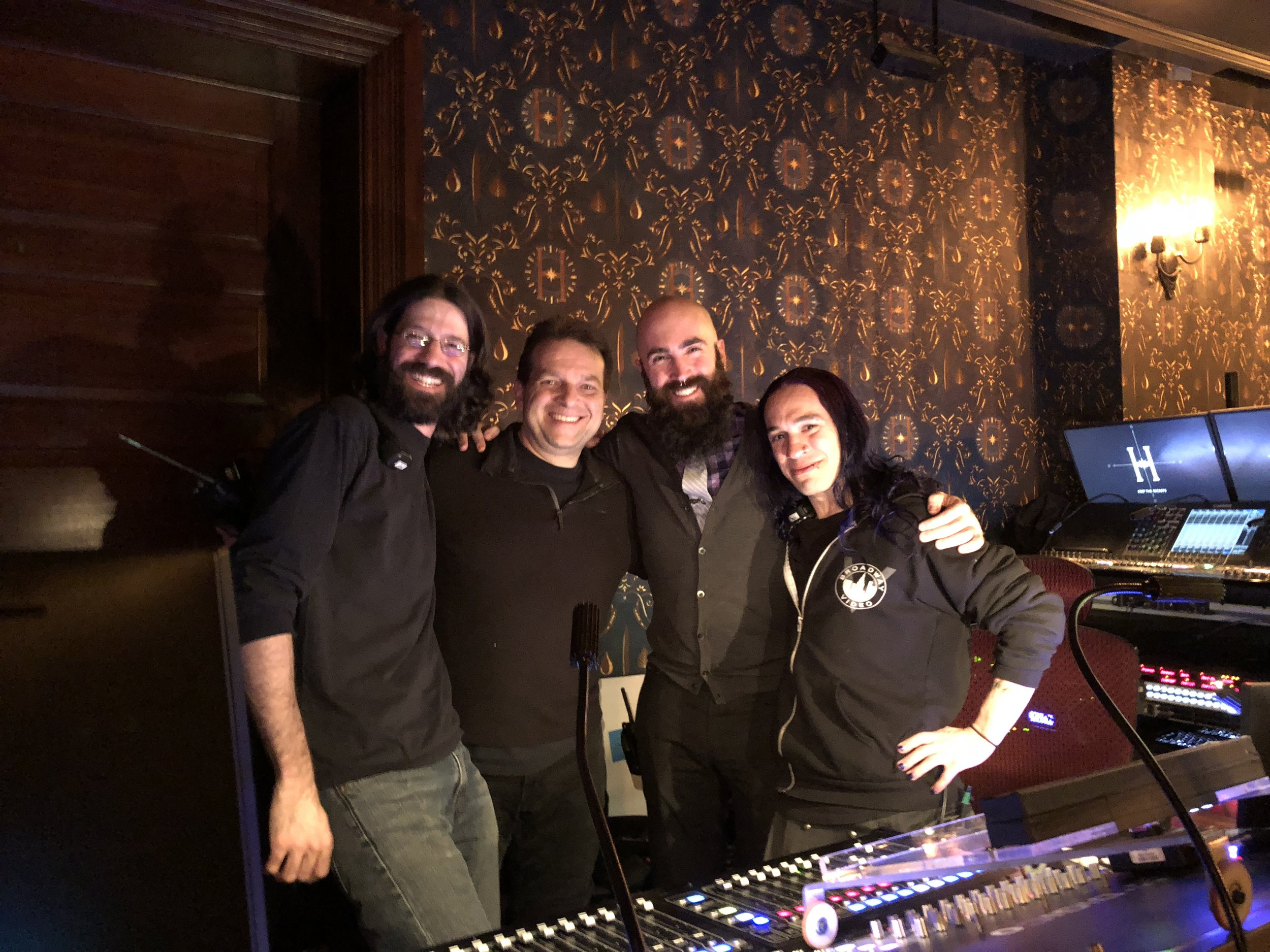 Some of the sound team: Rob Bass, Phil Lojo, Alex Hawthorn and Grace Wook