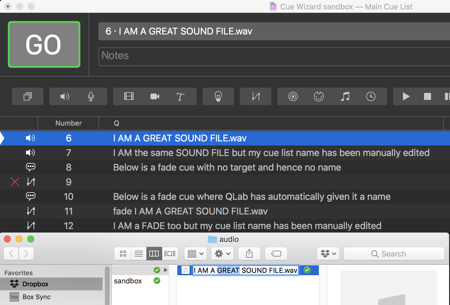 Changing the file name, QLab automatically renames cue 6 and 11. Cue 7 and 12 don't because we have manually edited them.