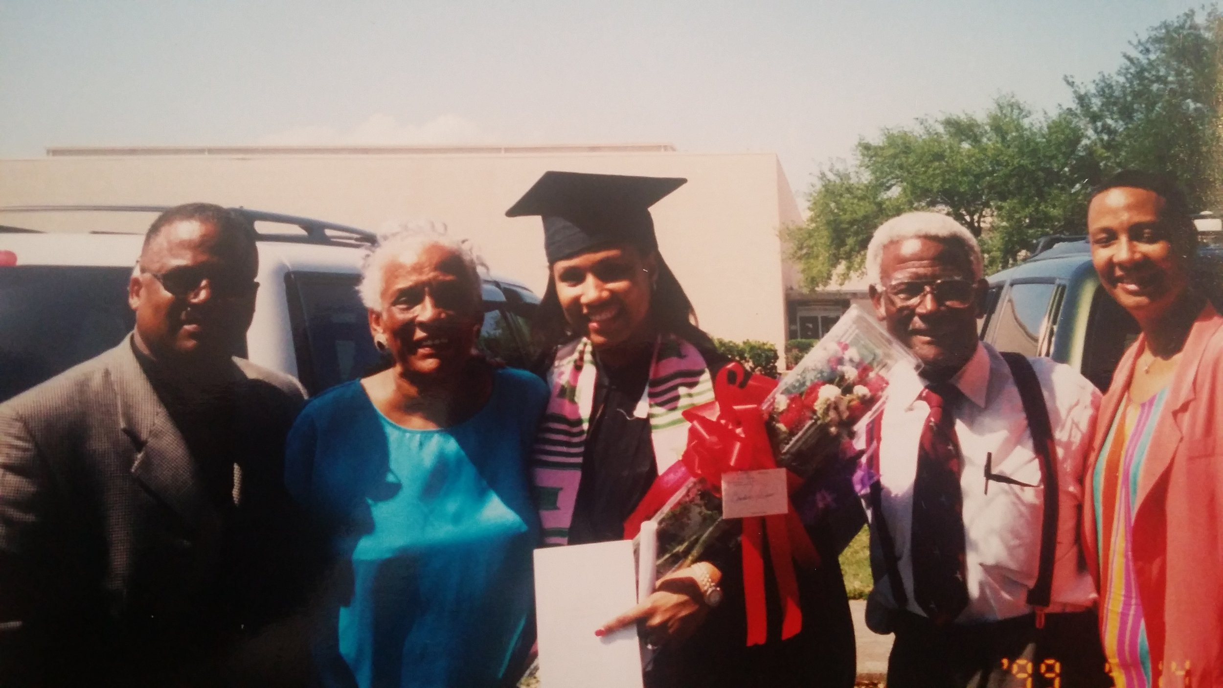 Dad, Grandmommy, Grandaddy and Mom at my college graduation.