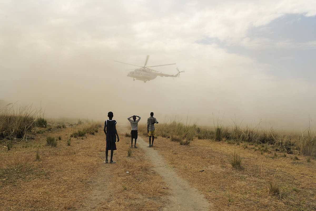 A United Nations helicopter takes off after southern Sudan officials came to Duk Payuel to encourage people to vote in the first multi-party election in 24 years. They also encouraged people to stop the inter-ethnic fighting because instability in the area could affect the January 2011 referendum to separate from the northern Sudan government. South Sudan voted to become independent of Sudan.