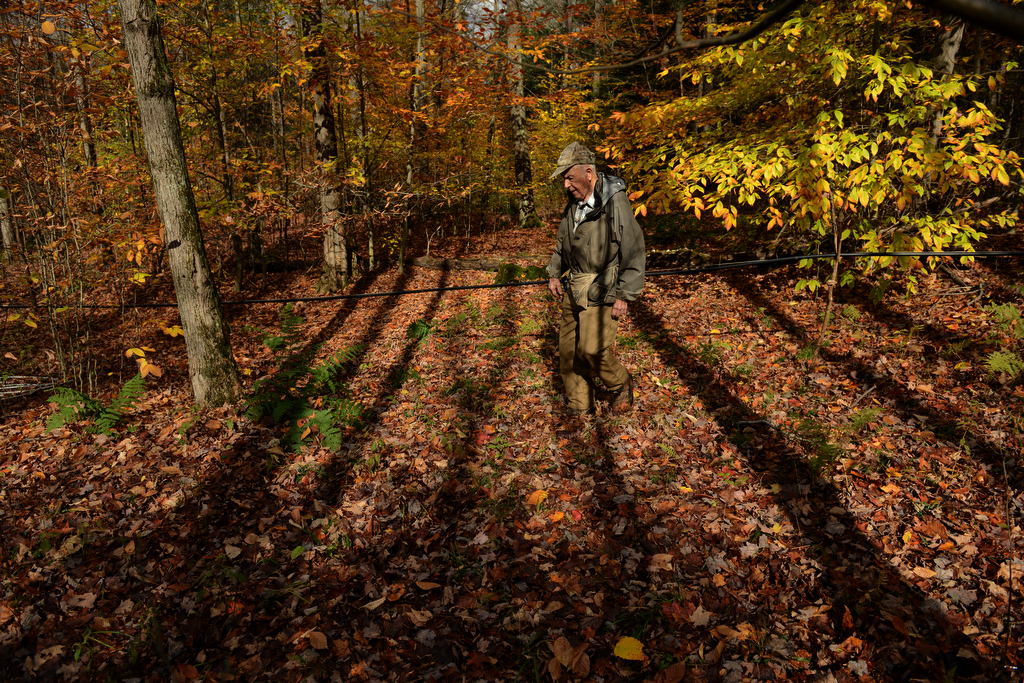 Max spends hours working on sap lines beneath the trees, partly because he likes seeing the woods changing color.