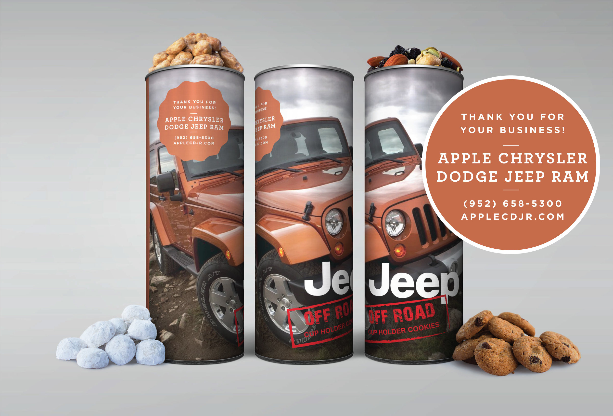 Auto dealerships use custom designed canisters as show above as a thank you gifts. The canisters fit perfectly in the cup holder and are a great surprise when the purchase is completed, in the waiting room while service is being done, or any other way you can think of.
