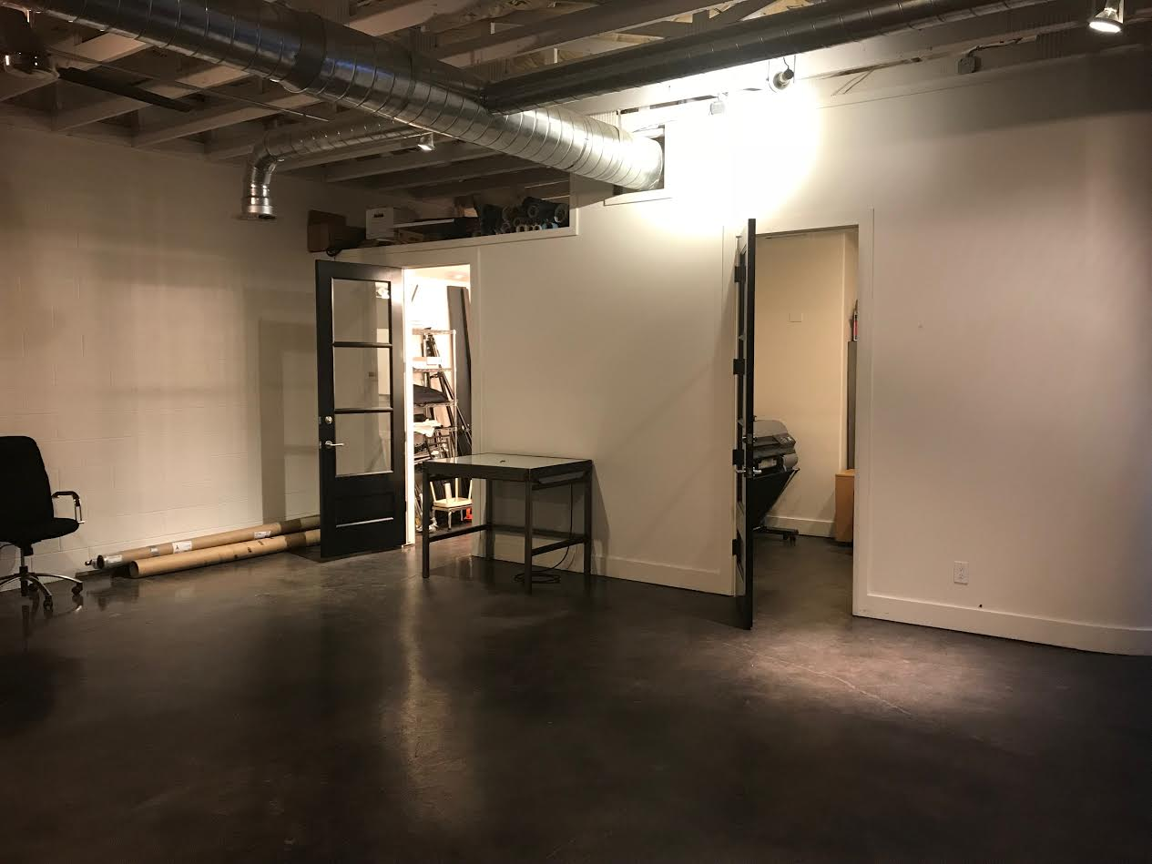 On the right is the office. On the left is our make-up/wardrobe/prep room.