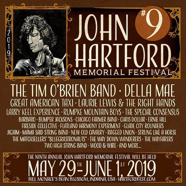 "~FESTIVAL ANNOUNCEMENT~ Can't wait to return to Bean Blossum for the @johnhartfordfest Festival May 29 - June 1 along side many of our favorites. Come join us for the ""most laid back festival in America""! Also there will be a much anticipated Two High String Band Reunion. What?!? Go to hartfordfest.com for tickets! See y'all at @antonesnightclub Thursday!"