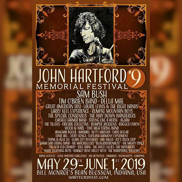 "Full lineup for @johnhartfordfest announced! Can't wait to get back to Bean Blossum for ""the most laid back festival in America"" with a bunch of our buddies and the much anticipated Two High String Band reunion! Head over to their Instagram for more info."