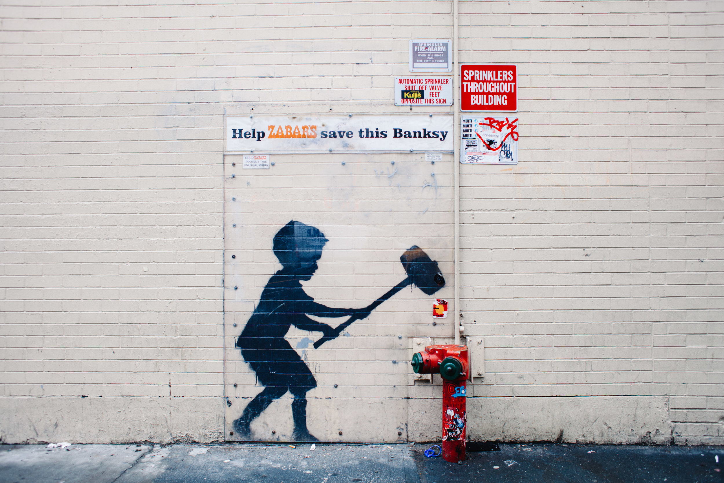 Banksy | Hammer Boy | Upper West Side | NYC // support the arts:  https://www.artsy.net/artist/banksy  - bio, shows + prints
