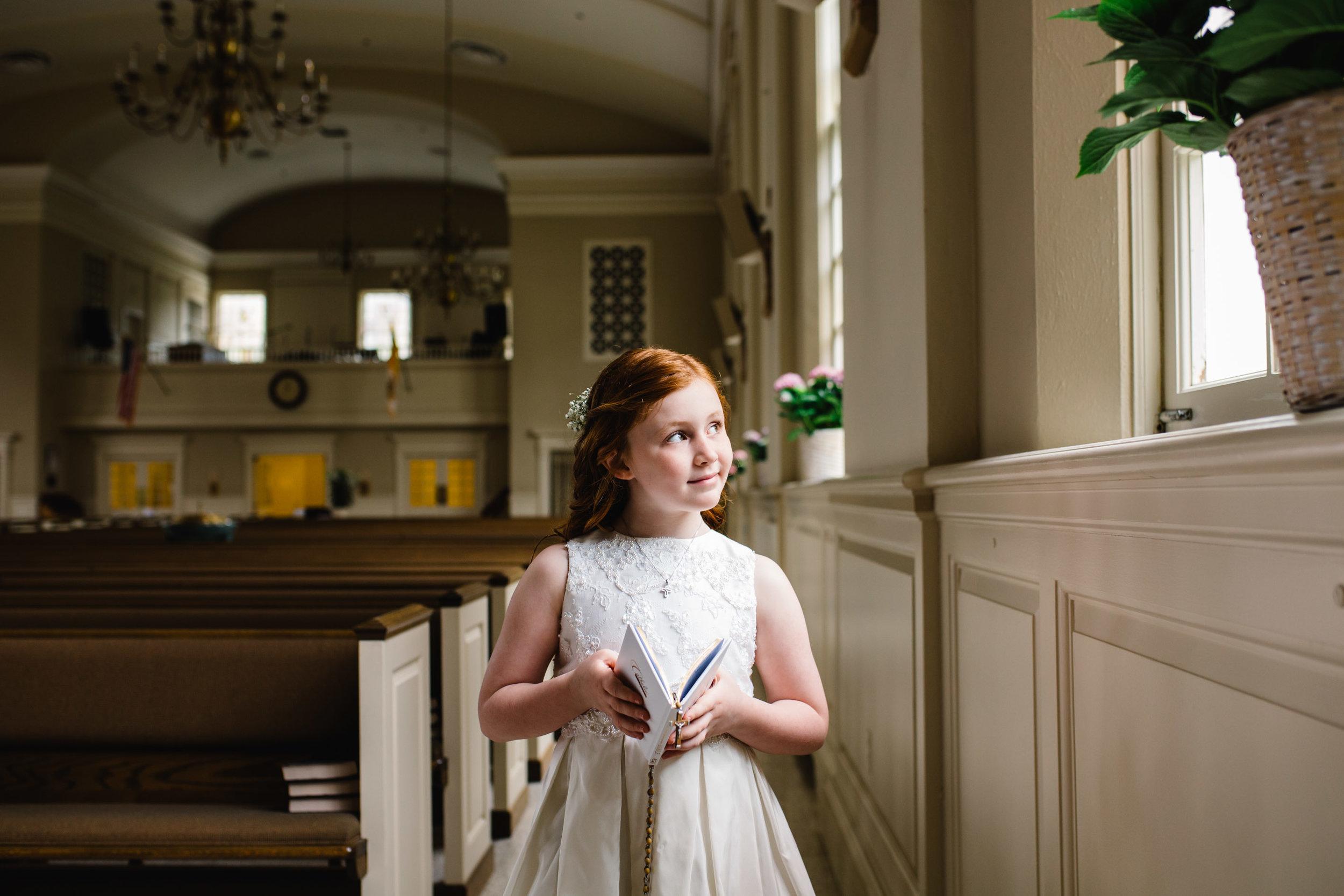 first communion portrait session at church | Jennifer Tippett Photography