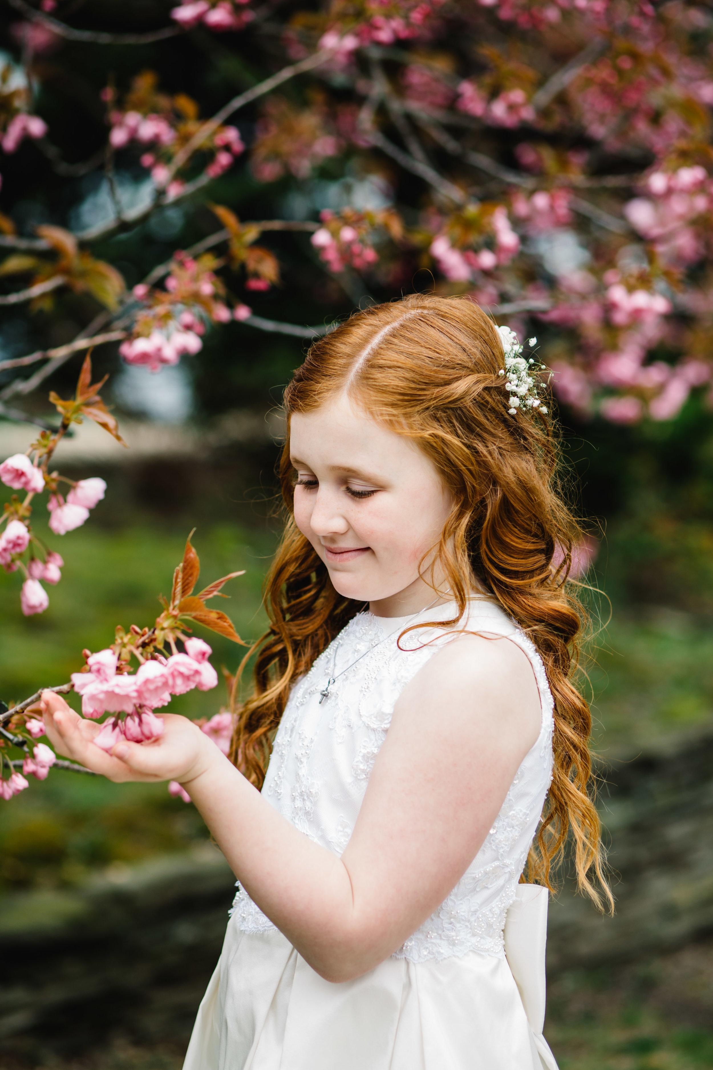 first communion portrait session cherry blossom | Jennifer Tippett Photography