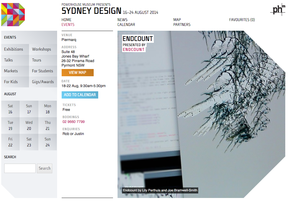Endcount was honoured to be part of the 2014 Sydney Design Festival