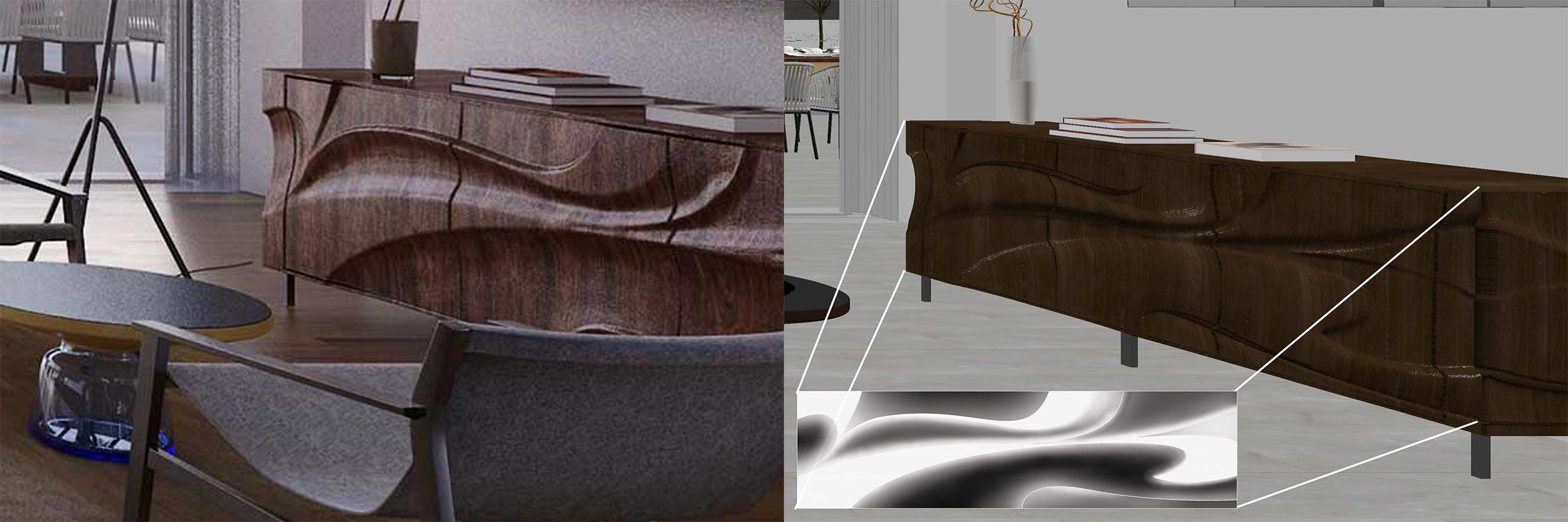Rendered Sideboard (left) | Custom Displacement-Modeled 3d Model (right)