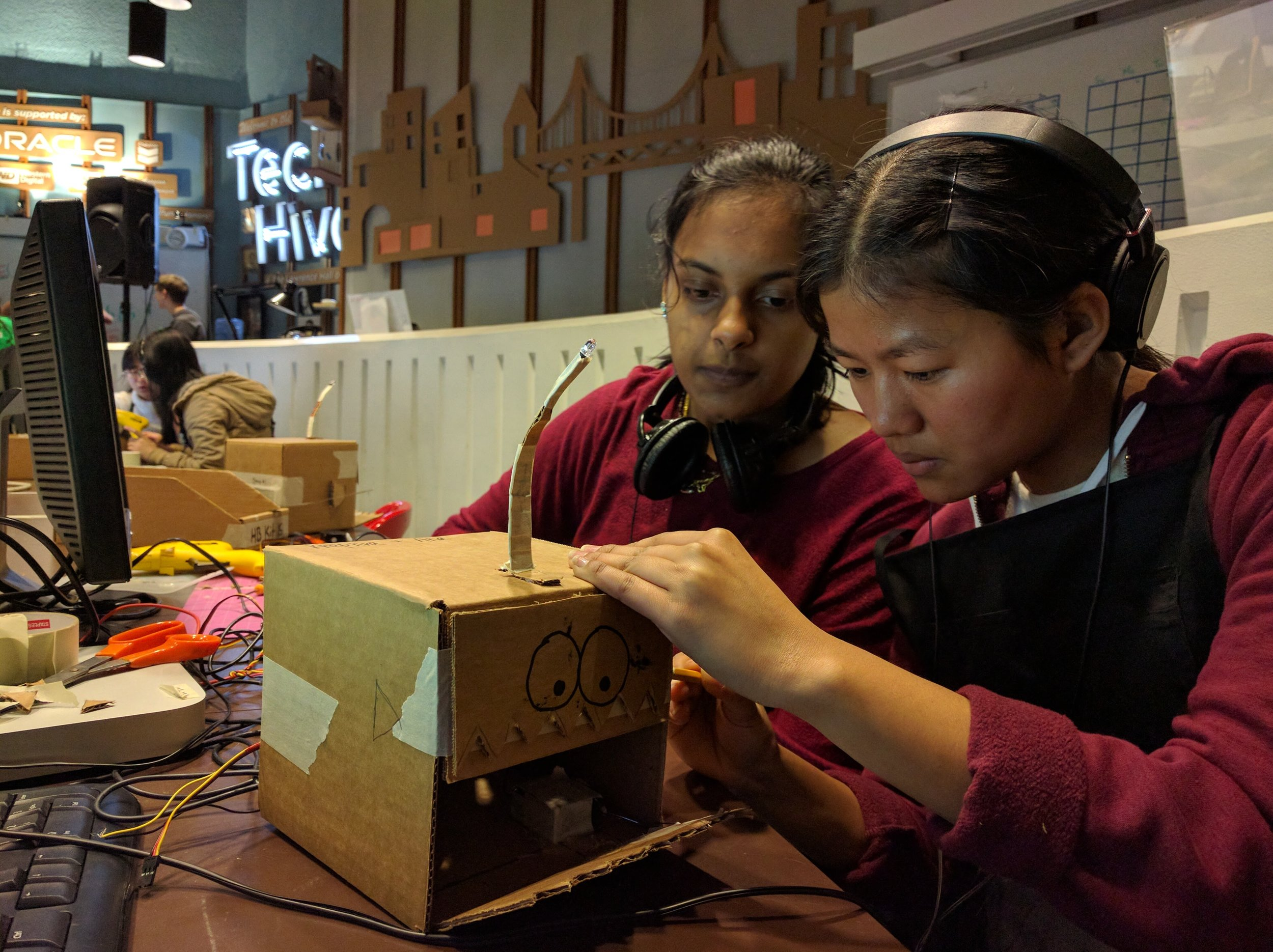 Radhika and Neesha creating fins for their animatronic angler fish