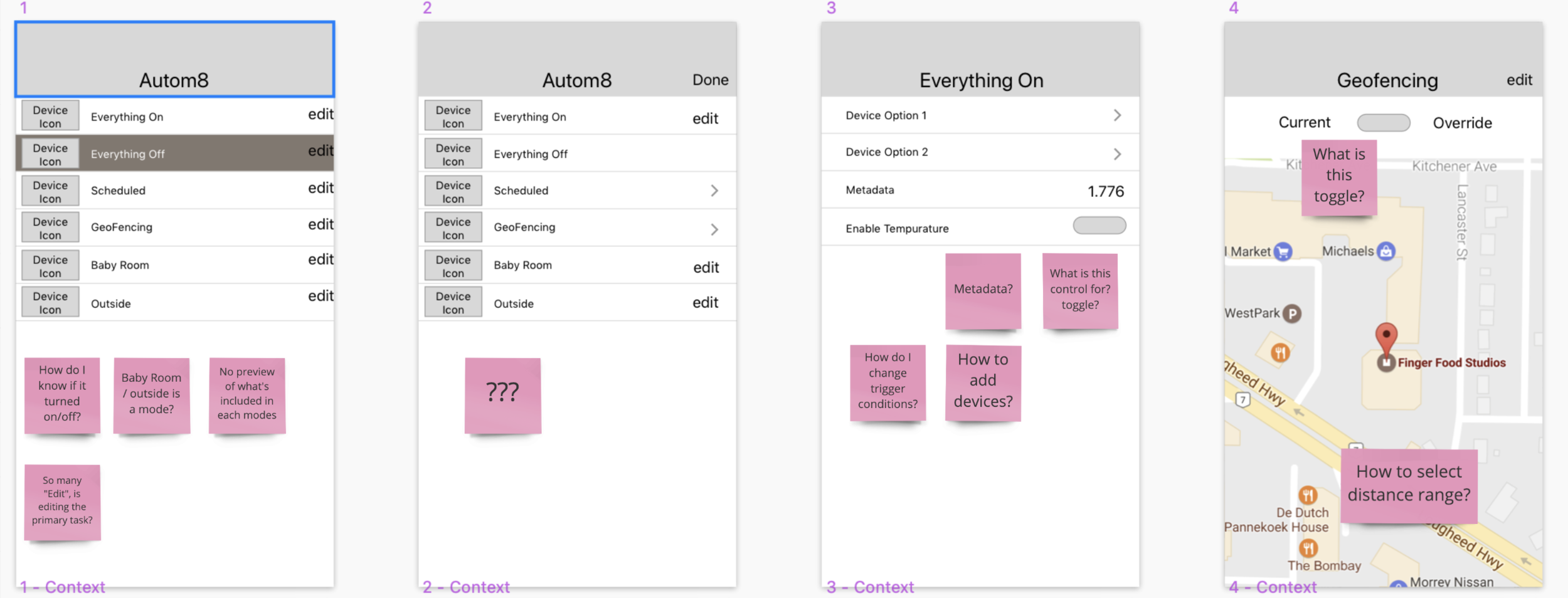 Wireframes overloaded with options