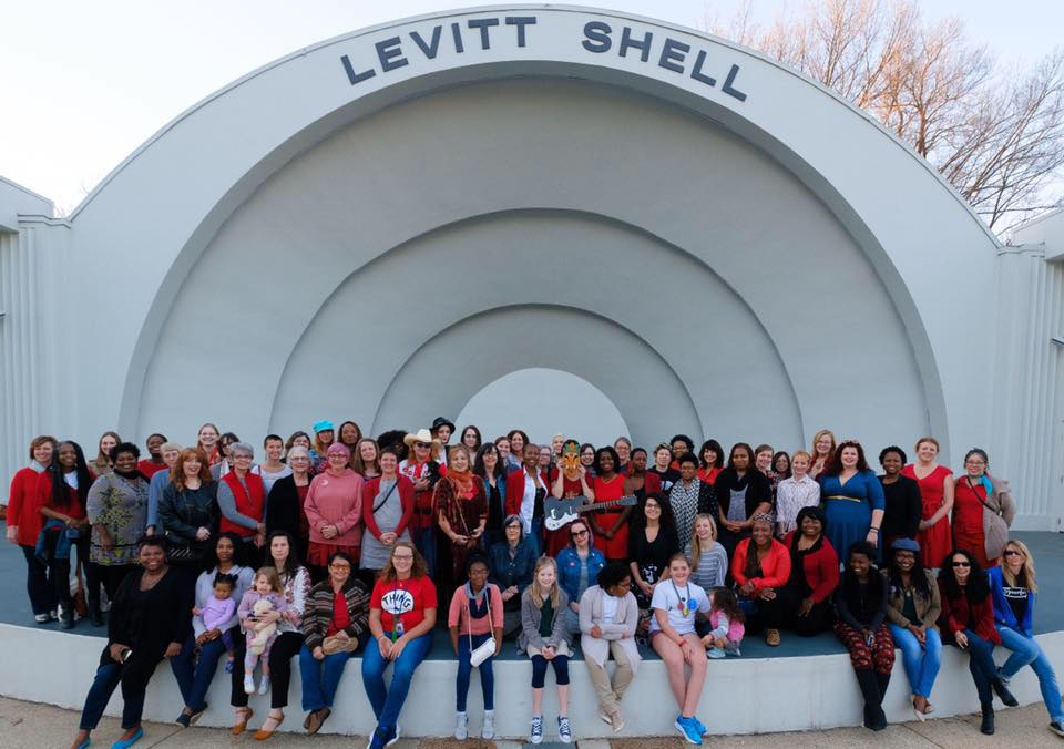 Some members of Memphis Women in Art gather for group portrait on International Women's Day at the Levitt Shell in Memphis, Tennessee. The group was brought together after an event of Ballet Memphis' Spark Community Conversations. Featured in  The Commercial Appeal