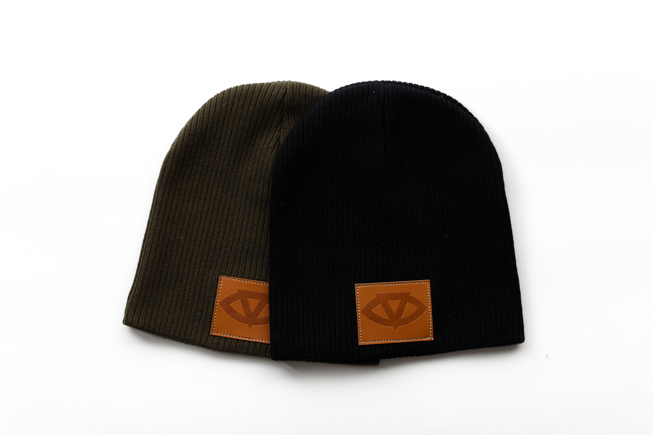 Cotton Beanies w/ Vegan Leather Patch