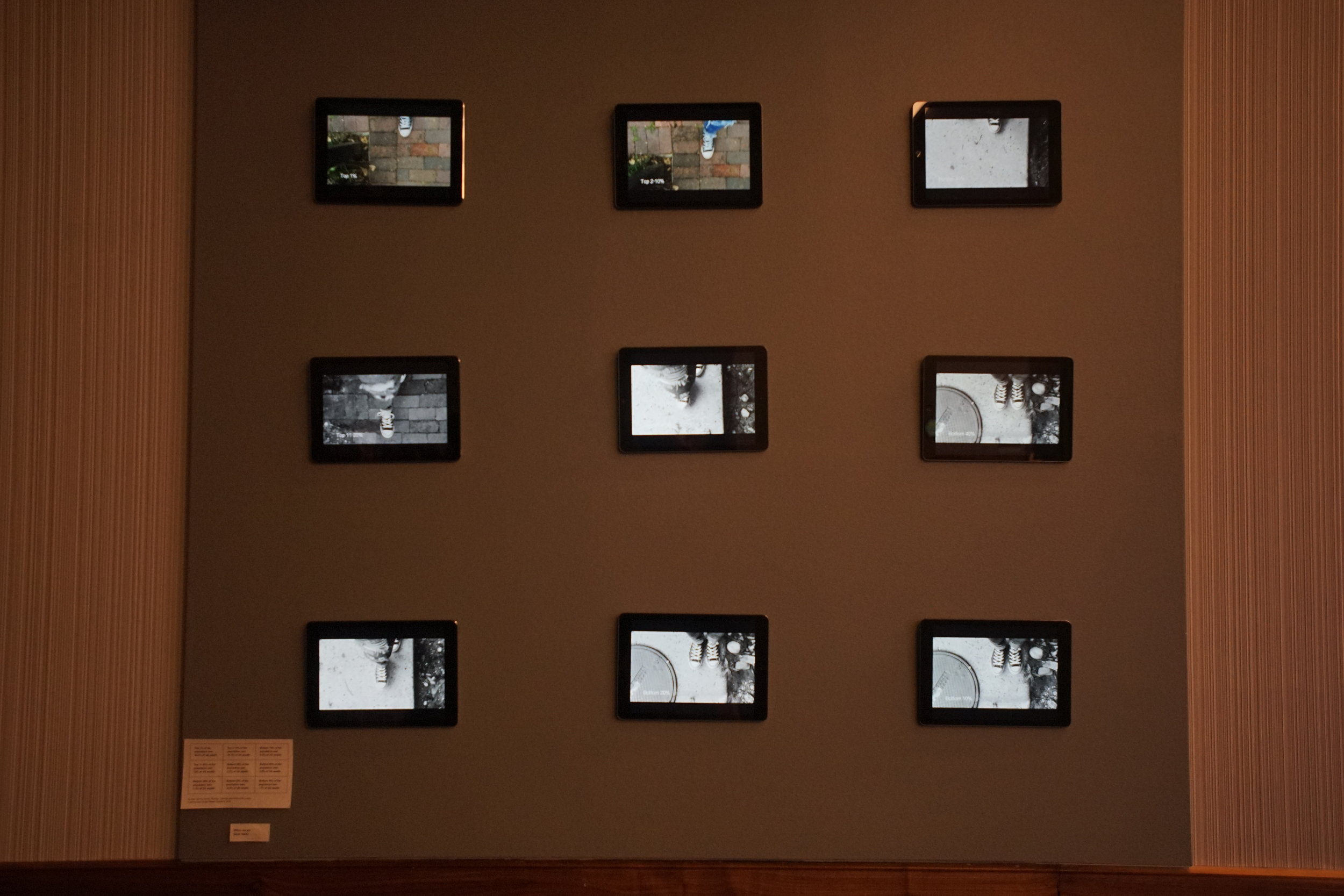 SARAH MARTIN - WHERE WE ARE   Series of short films.     Where We Are  displayed nine different i-pads with different short films. All of these films we displays of the same shoes walking but in different locations, speeds, and visual styles.