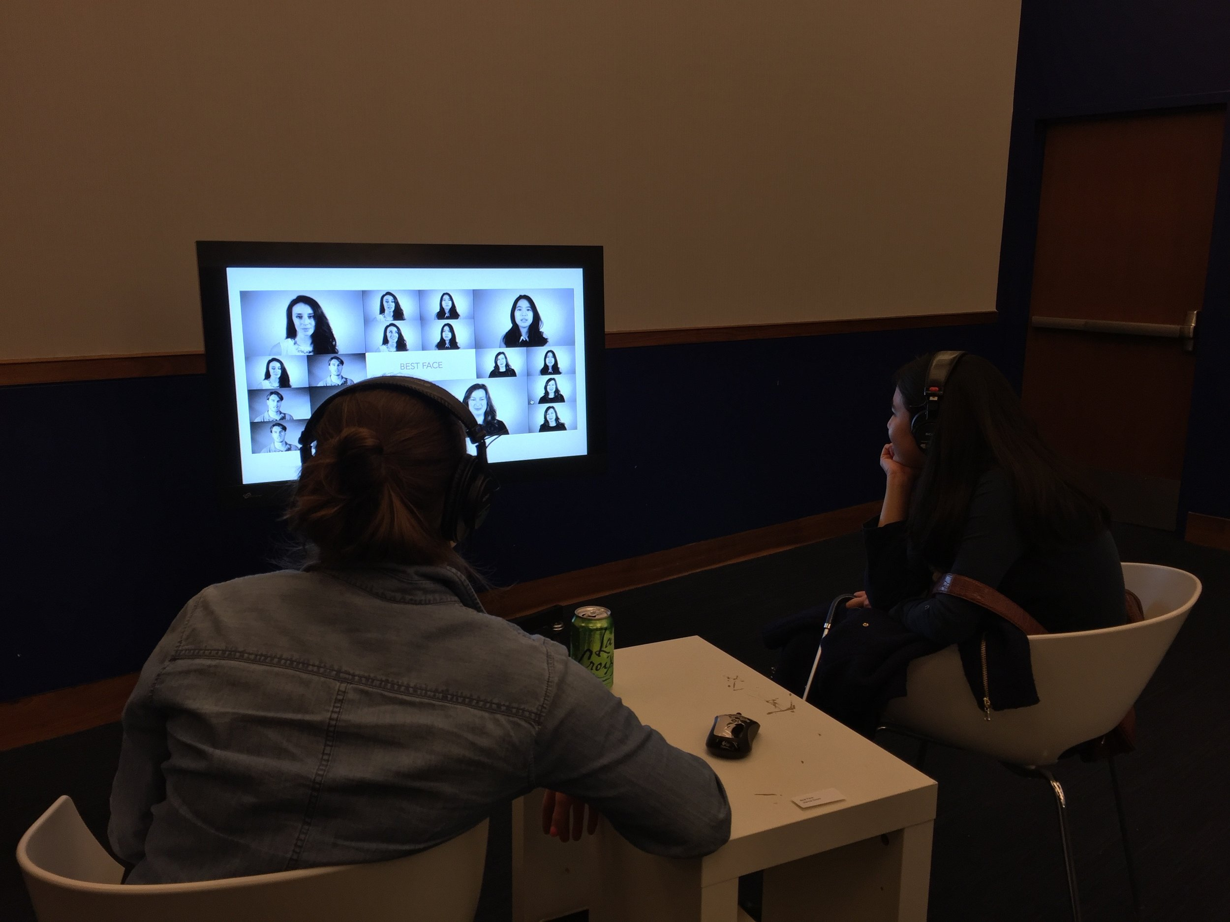 JILANNE DOOM - BEST FACE   Interactive installation / video series.      Best Face  shows the viewers four different CCT students as they answer honestly to questions about mental health and what it is like to maintain a best face  in front of others.