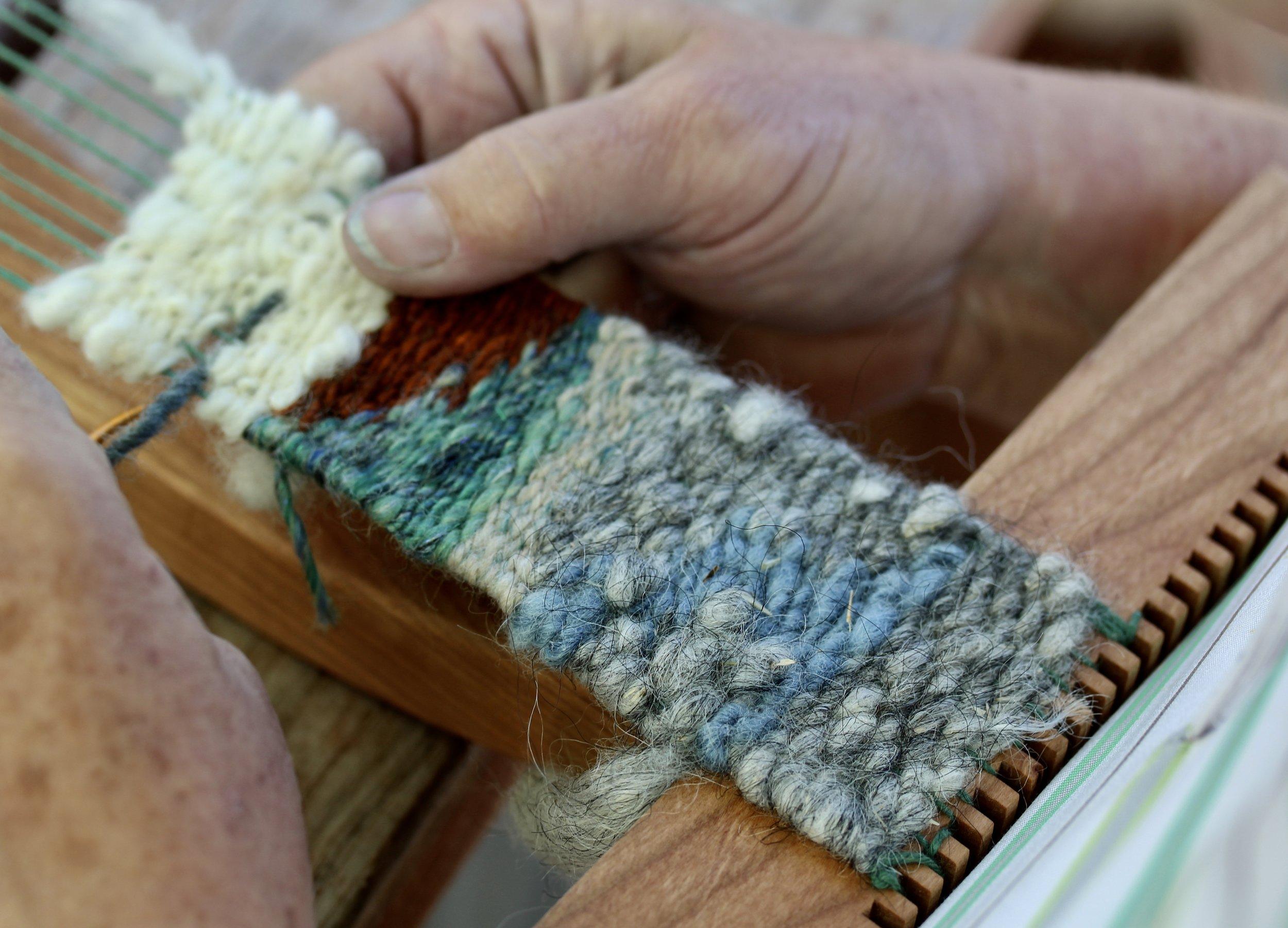Weaving on little looms