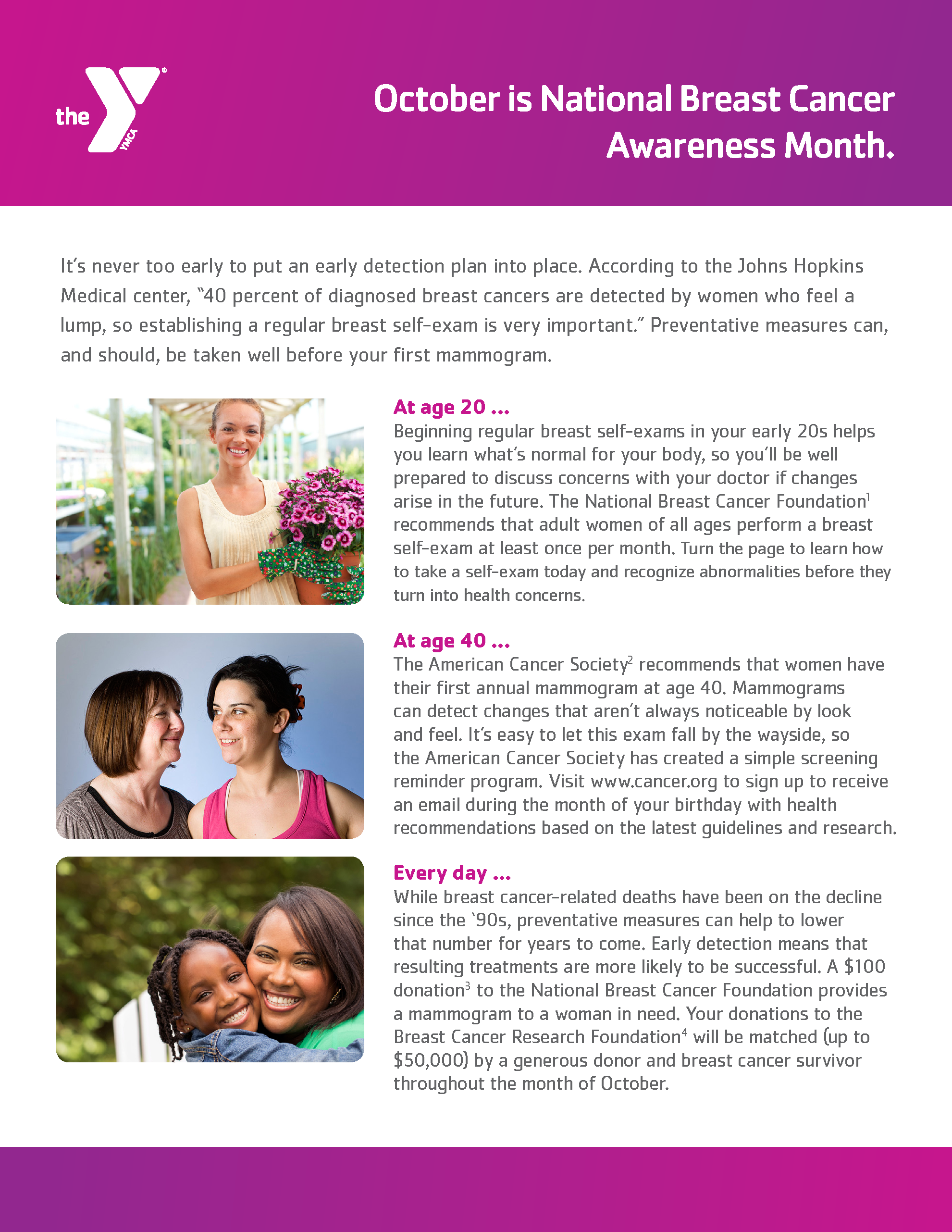 Breast Cancer Awareness Month one-sheet, side 1