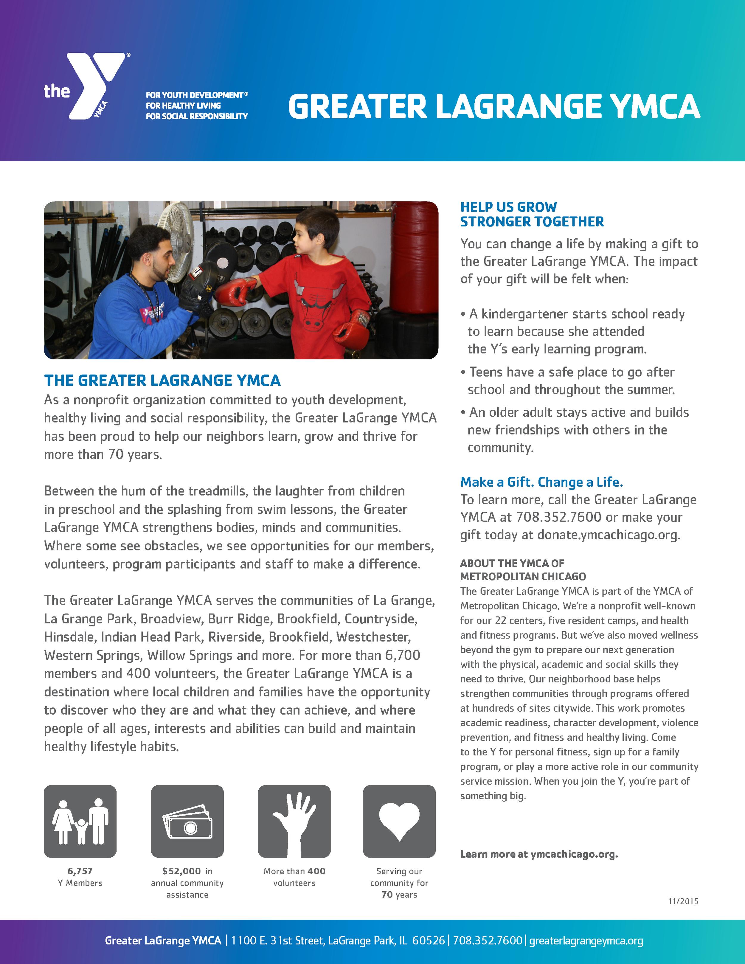 Greater LaGrange YMCA one-sheet, side 2