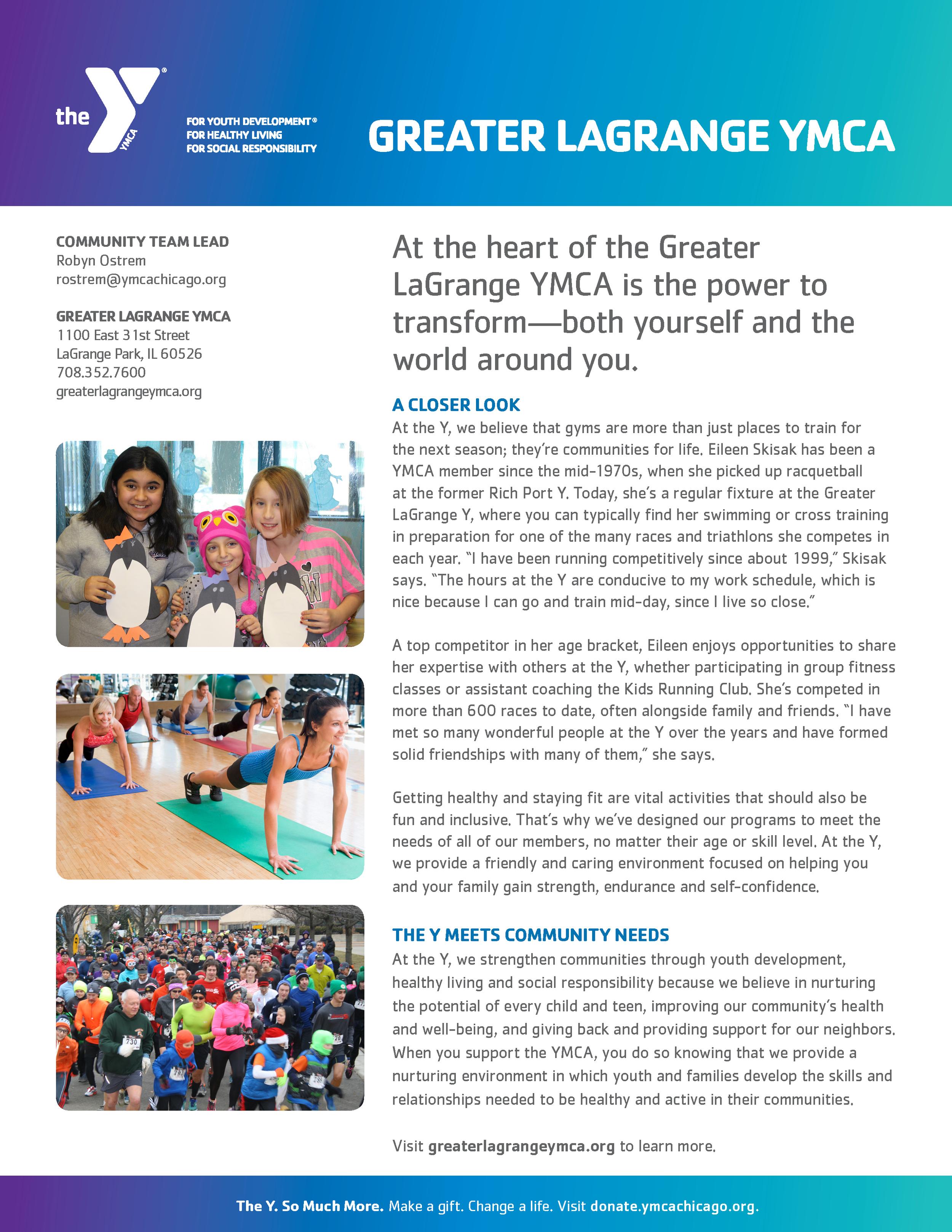 Greater LaGrange YMCA one-sheet, side 1