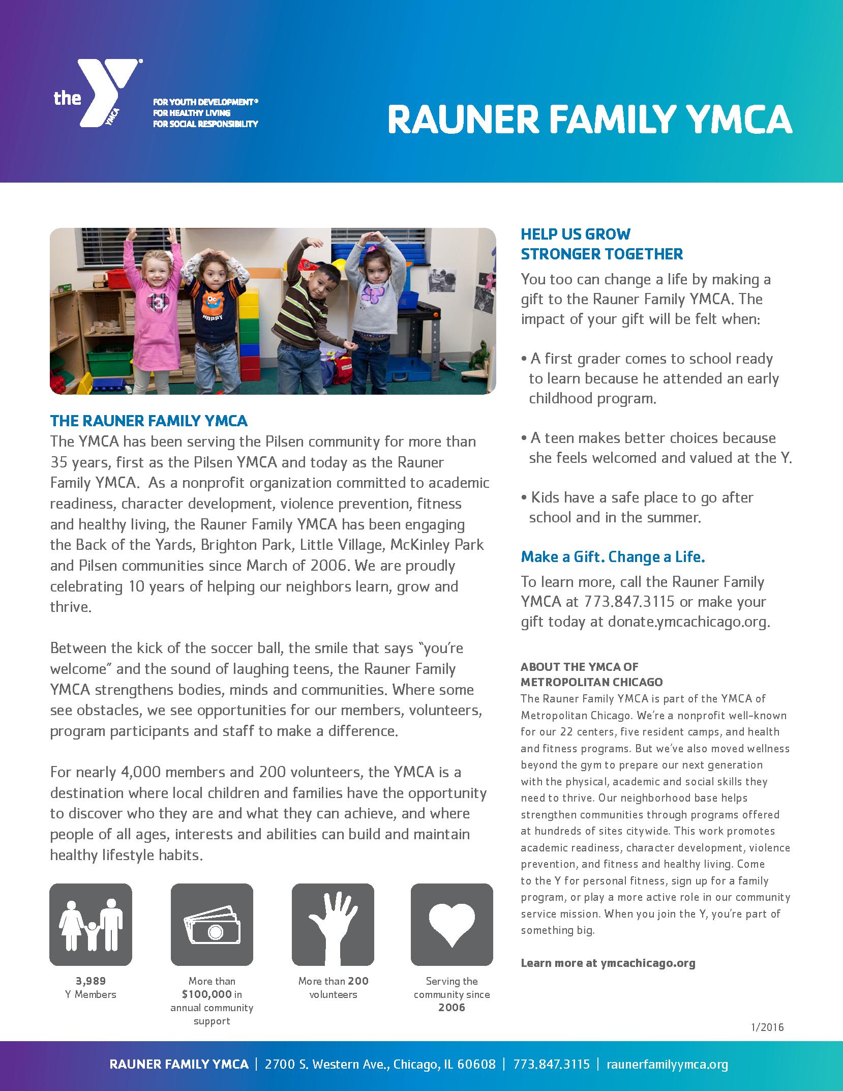 Rauner Family YMCA one-sheet, side 2