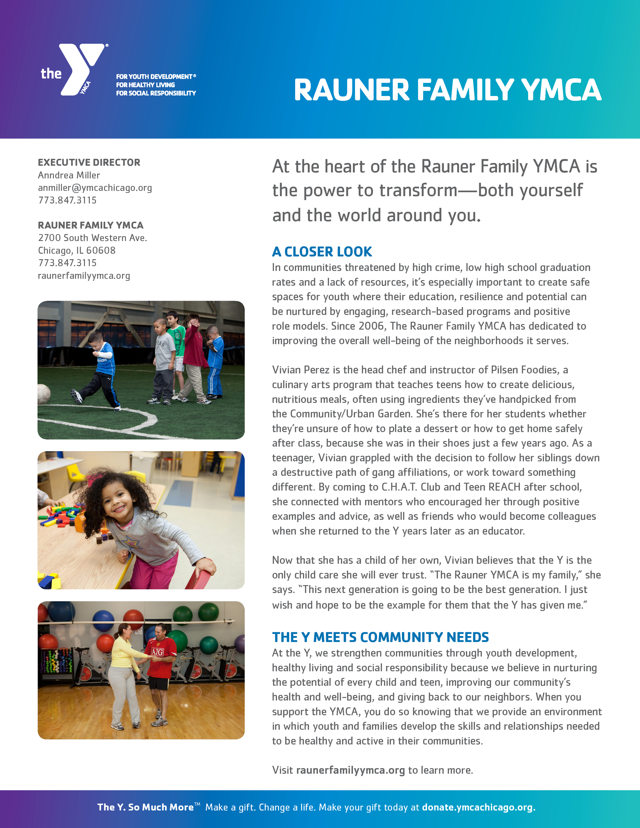Rauner Family YMCA one-sheet, side 1