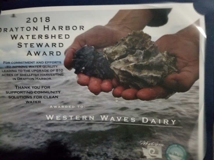 Drayton Harbor Watershed 2018 Award - Western Waves Dairy home of Ferndale Farmstead is Awarded Drayton Harbor Watershed 2018 Award