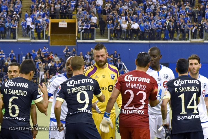 Montreal, Canada - April 29, 2015: Montreal Impact goalie Kristian Nicht shakes hands with Dario Benedetto who proved to be his nemesis.