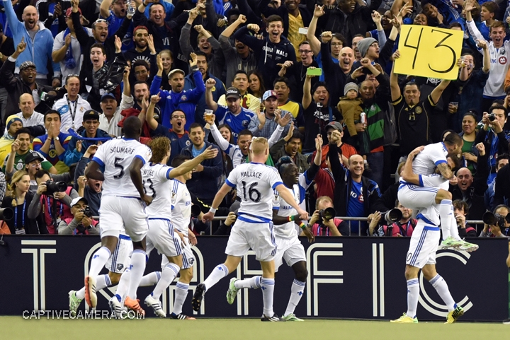 Montreal, Canada - April 29, 2015: Montreal Impact players celebrate the early goal.