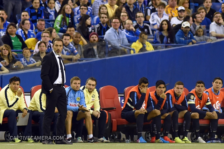 Montreal, Canada - April 29, 2015: Club America coach Gustavo Matosas shows signs of concern after giving up the first goal.