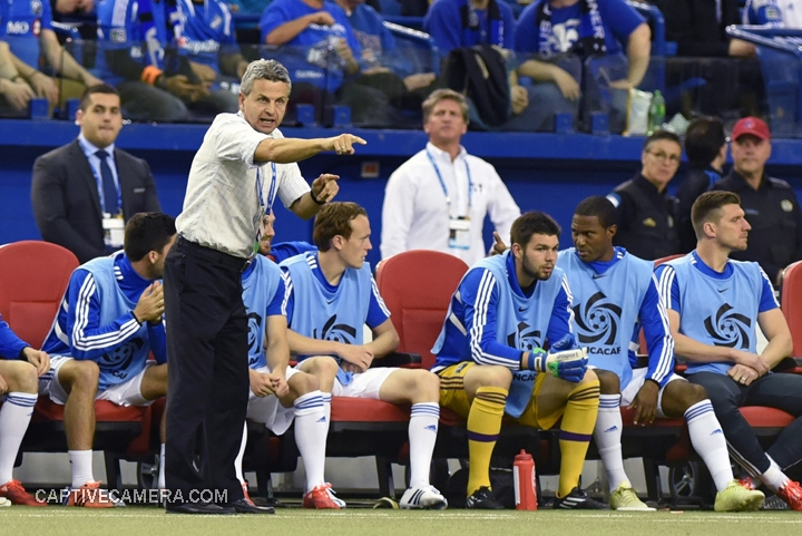 Montreal, Canada - April 29, 2015: Montreal Impact coach Frank Klopas offers direction and encouragement to his players after their early lead.