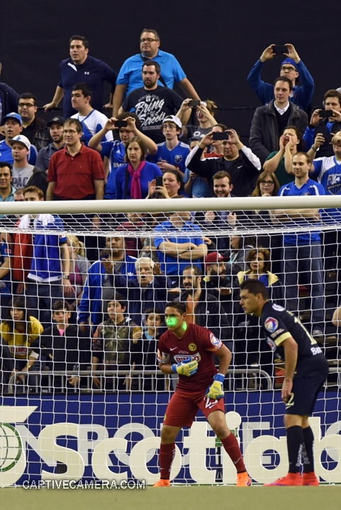 Montreal, Canada - April 29, 2015: Laser pointers were used against Club America in response to lasers used on the April 22 game in Mexico City.